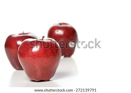 Studio shot of red apples - stock photo