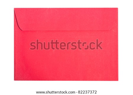 Studio shot of red envelope isolated on white - stock photo