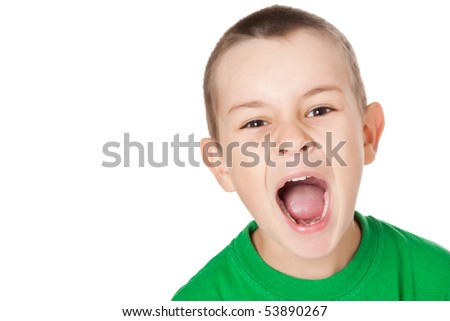 studio shot of screaming boy - stock photo