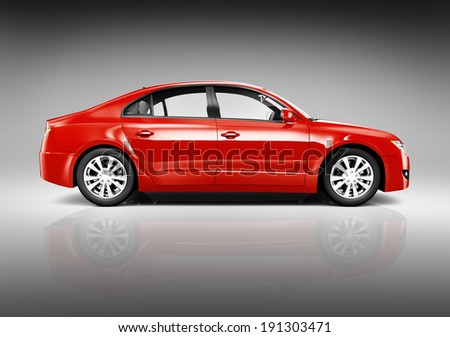Studio Shot of Side View of Red 3D Sedan  - stock photo