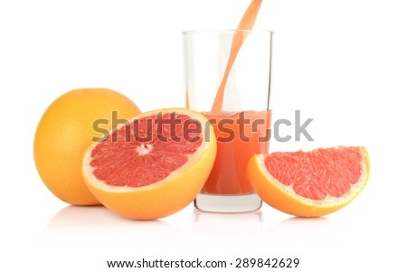 Studio shot of sliced grapefruits with grapefruit with poured juice isolated white background - stock photo