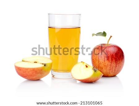 Studio shot of sliced red apple with leaf and apple juice isolated on a white background