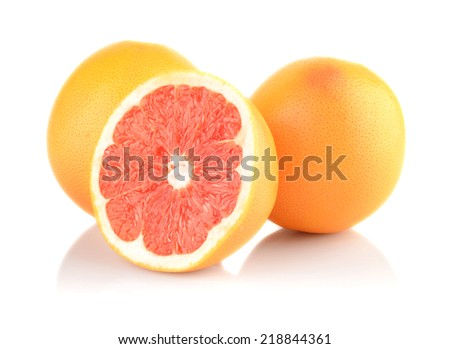 Studio shot of sliced some grapefruits isolated white background - stock photo