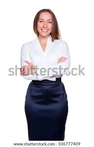 studio shot of smiley businesswoman with crossed hands. isolated on white background - stock photo