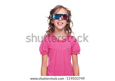 studio shot of smiley girl in 3d glasses over white background - stock photo