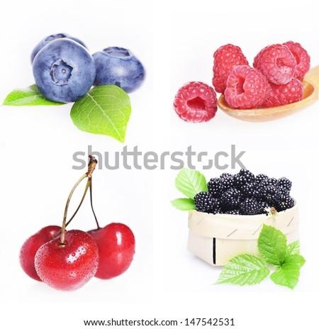 Studio shot of tasty fruits on white background - stock photo