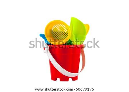 Studio shot of the beach toys isolated on white - stock photo
