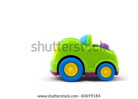 Studio shot of the Colorful Toy Car isolated on white. - stock photo
