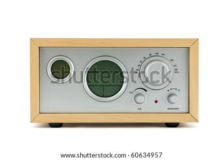 Studio shot of the Retro Radio isolated on white - stock photo