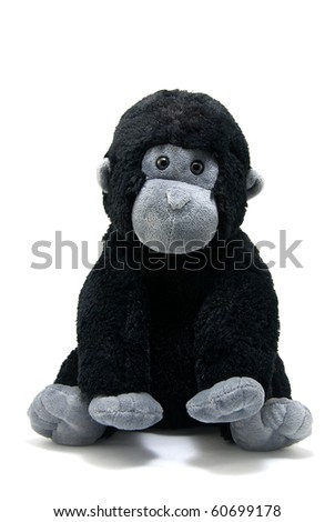 Studio shot of the young gorilla toy on white - stock photo