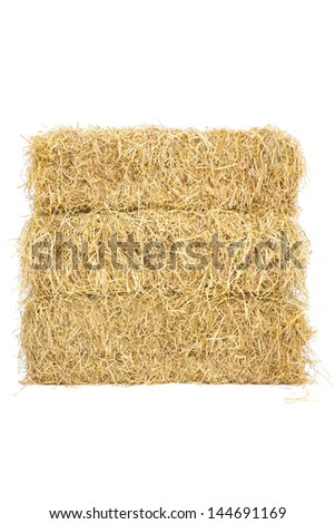 studio shot of three layers straw hay on white background - stock photo
