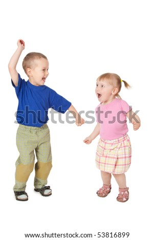 studio shot of two dancing child - stock photo