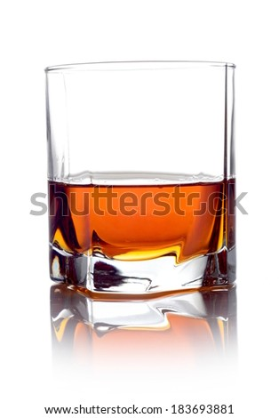 Studio shot of whisky in a glass isolated on white