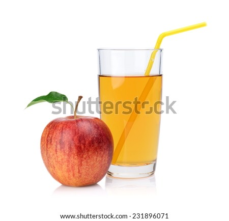 Studio shot of whole red apple with leaf and apple juice with straw isolated on a white background