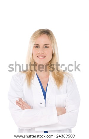 Studio shot of woman doctor isolated on white with crossed arms - stock photo