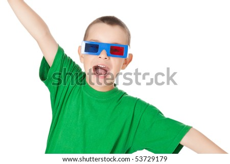 studio shot of young boy with 3D glasses - stock photo