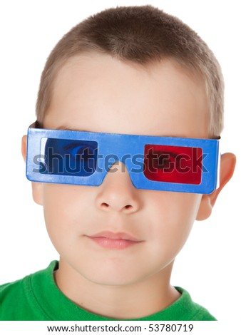 studio shot of young boy with 3D glasses