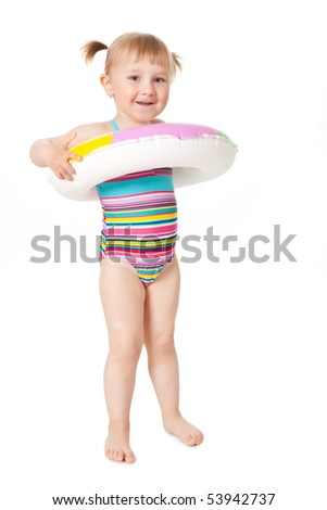 studio shot of young girl in swimsuits - stock photo