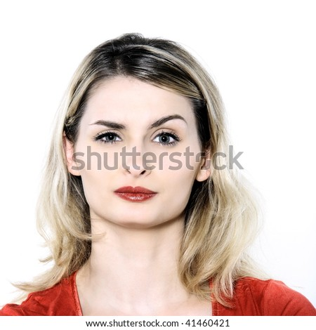 studio shot portrait isolated of young blond long hair woman - stock photo