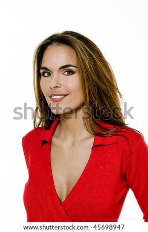 studio shot portrait of a beautiful brunette green eyes young woman on white background - stock photo