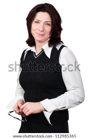 Studio shot. Portrait of a business woman 35 years - stock photo