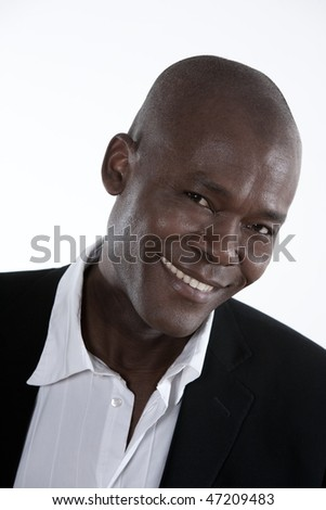 studio shot portrait of a smiling forty Handsome Afro-American Man - stock photo