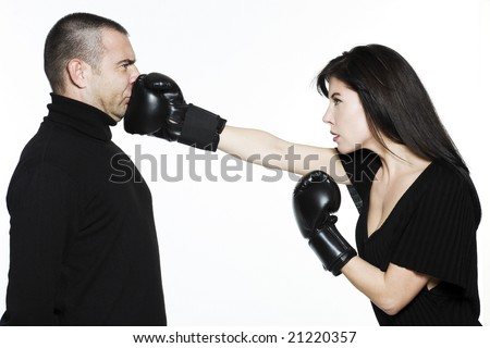 studio shot portrait on isolated white background of a Beautiful Funny couple expressive fighting - stock photo