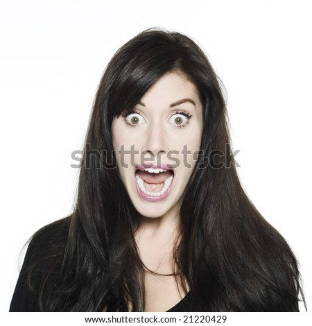 studio shot portrait on isolated white background of a Beautiful Funny Woman expressive