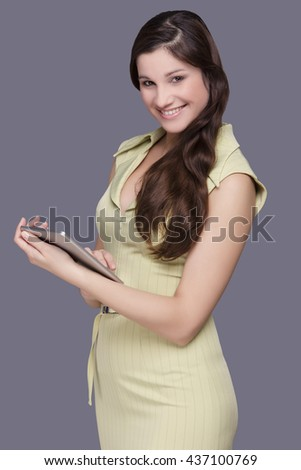 Studio Shot, Student, Holding, Businesswoman, Digital Tablet - stock photo
