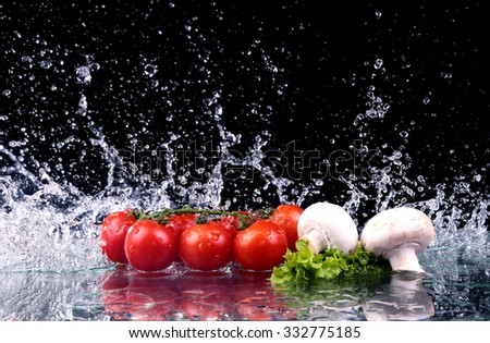 Studio shot with freeze motion of cherry tomatoes and mushrooms in water splash on black background - stock photo