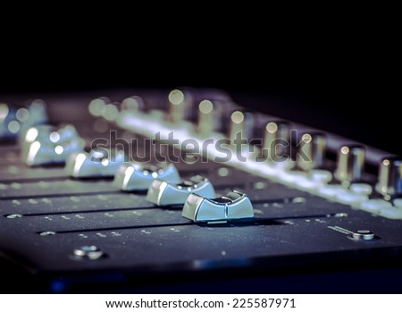 Studio sound  music recording system sliders - stock photo