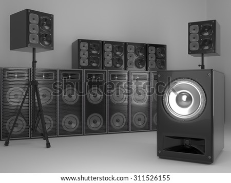 Studio Sound System Installation - stock photo