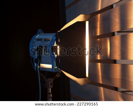 Studio Spotlight or Stage Light Metal clip on a tripod for lighting - stock photo