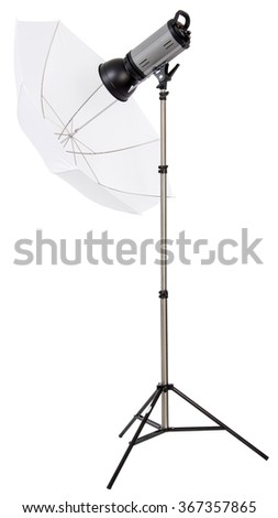 Studio strobe light flash with umbrella isolated