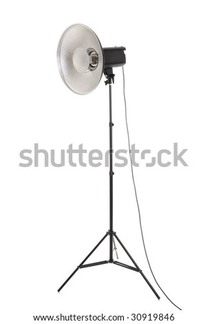 Studio strobe with beauty dish isolated on the white
