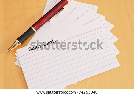 Study Cards with Pen - stock photo
