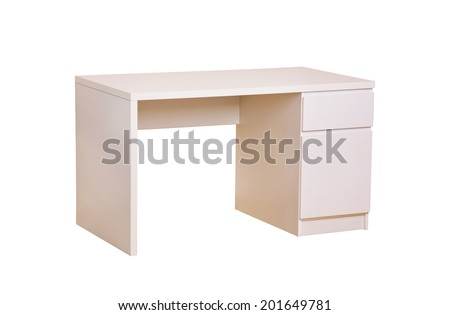 study desk isolated on white - stock photo