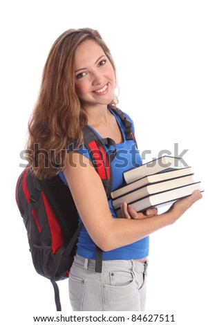 Study time for beautiful high school teenage student girl with education books, with long brown hair wearing blue t-shirt and red school backpack with big happy smile.