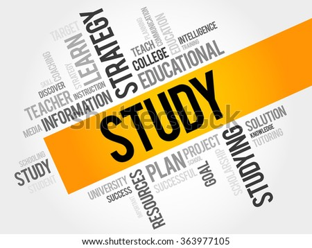STUDY word cloud, education concept - stock photo