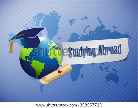 studying abroad globe sign world map illustration design graphic - stock photo