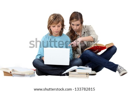 Studying at home - stock photo