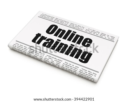 Studying concept: newspaper headline Online Training - stock photo