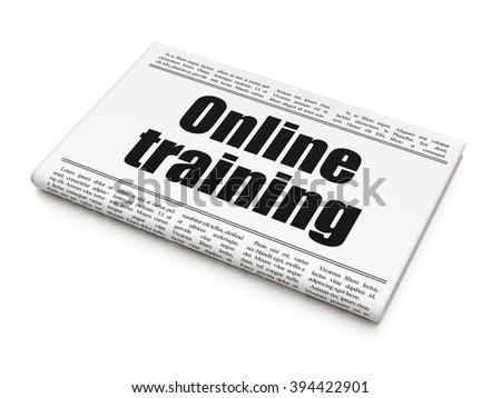 Studying concept: newspaper headline Online Training - stock photo