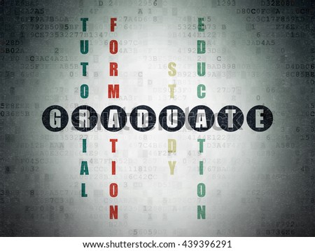 Studying concept: Painted black word Graduate in solving Crossword Puzzle on Digital Data Paper background - stock photo