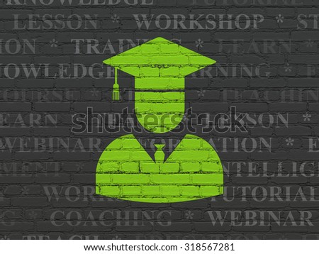 Studying concept: Painted green Student icon on Black Brick wall background with  Tag Cloud