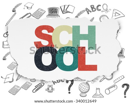 Studying concept: Painted multicolor text School on Torn Paper background with  Hand Drawn Education Icons - stock photo
