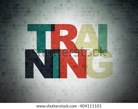 Studying concept: Painted multicolor text Training on Digital Paper background - stock photo