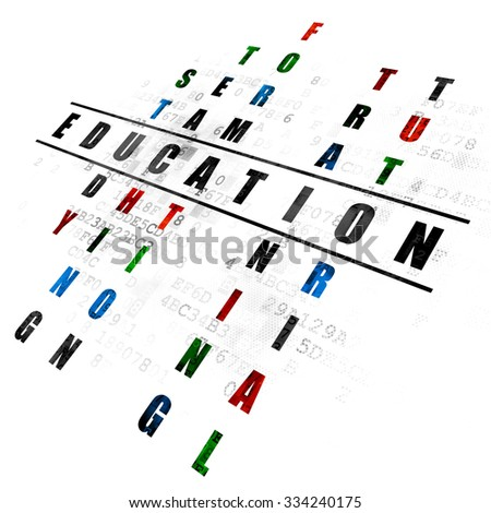 Studying concept: Pixelated black word Education in solving Crossword Puzzle on Digital background - stock photo