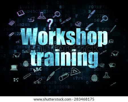 Studying concept: Pixelated blue text Workshop Training on Digital background with  Hand Drawn Education Icons, 3d render - stock photo