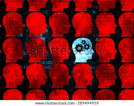 Studying concept: rows of Pixelated red head icons around blue head with gears icon on Digital background - stock photo